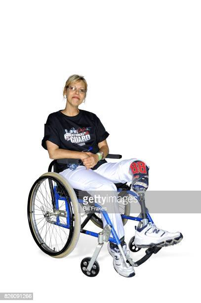 Toyota/Save Mart 350 Portrait of Dale Earnhardt Jr female fan with prosthetic leg with sitting on wheelchair during photo shoot at Sonoma Raceway...