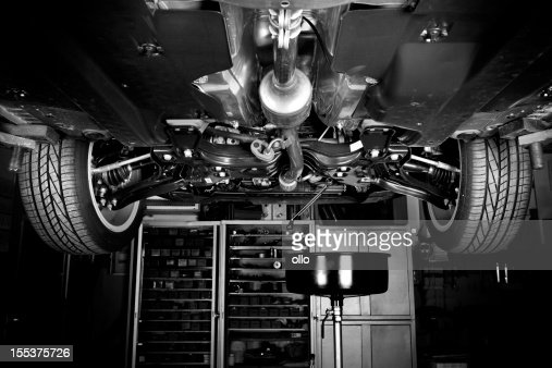 Auto repair shop - modern car, low-angle view