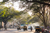 Auto Rickshaws, Tree Lined Street, Bangalore