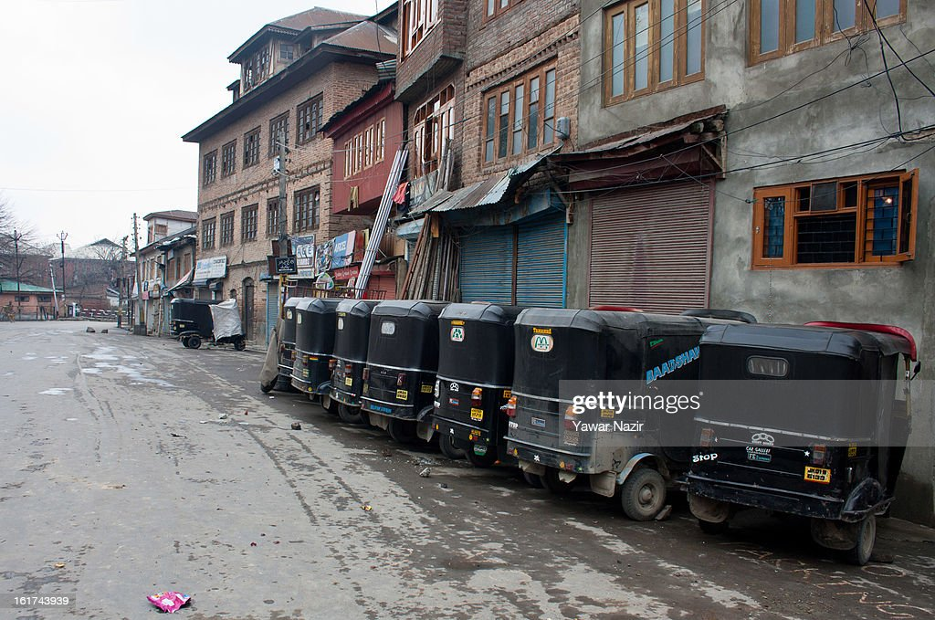 Auto rikshaws of Kashmiris are seen during a strict curfew on the seventh consecutive day, imposed after the execution of alleged Indian parliament attacker Mohammad Afzal Guru on February 15, 2013 in Srinagar, the summer capital of Indian Administered Kashmir, India. Afzal Guru, from Sopore town in the north of Kashmir, was hung on February 09 for his role in the 2001 Indian parliament attack which left 14 dead. The hanging has further strained relations between India - who blamed the attack on 'Pakistan backed' militant group Jaish-e-Mohammed - and neighbouring Pakistan and has seen an military increase from both along the border.Curfew was lifted from some parts of Srinagar after four days.