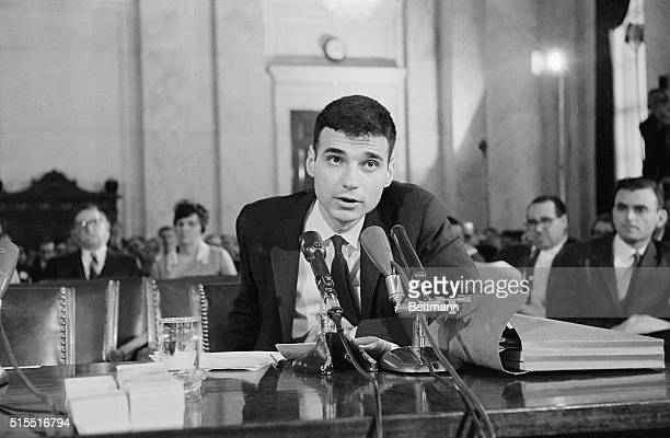 Auto safety critic Ralph Nader appears here before the Senate Commerce subcommittee which is investigating charges by Nader that he was harassed and...