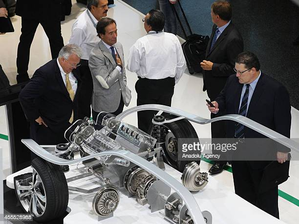 Auto spare parts are on exhibition at the Automechanika car accessories fair in Frankfurt am Main Germany on September 16 2014 From 16 through 20...