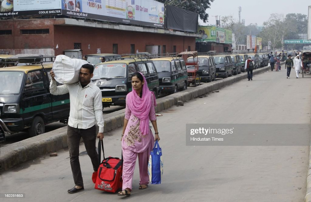 Auto taxi and other private transport vehicles remained off the roads due to Call 'Bharat Bandh' was given by various Trade Unions at Old Delhi railway station on February 21, 2013 in New Delhi, India.