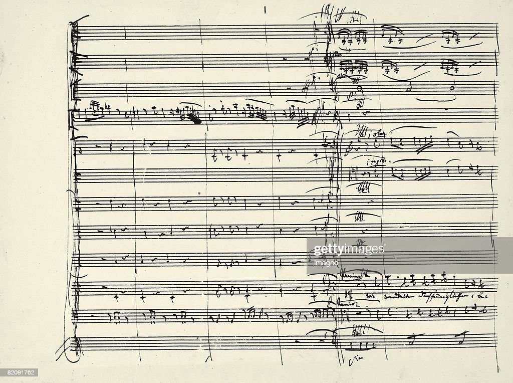 Autograph of the end of the Feuermusik and the beginning of Pamina's and Tamino's duet from the Magic Flute 1791 [Wolfgang Amadeus Mozart...