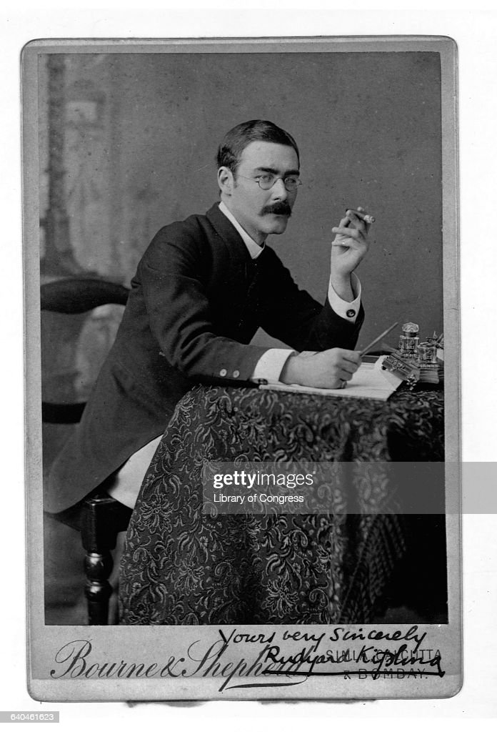 Autographed Picture of Writer <a gi-track='captionPersonalityLinkClicked' href=/galleries/search?phrase=Rudyard+Kipling&family=editorial&specificpeople=208789 ng-click='$event.stopPropagation()'>Rudyard Kipling</a> Holding Cigar