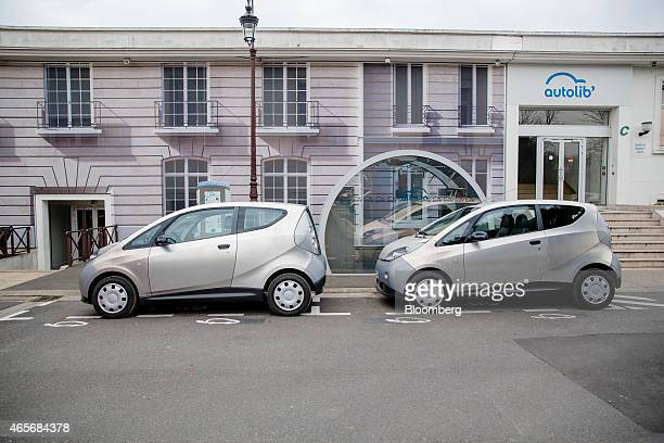 Autolib' electric Bluecars sit at the Autolib' carsharing headquarters in Vaucresson France on Monday March 9 2015 Vincent Bollore billionaire and...
