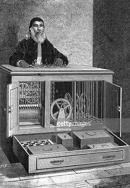 'L'automate de RobertHoudin' An automated chess player with the mechanical workings exposed in the cabinet underneath An early automaton or chess...
