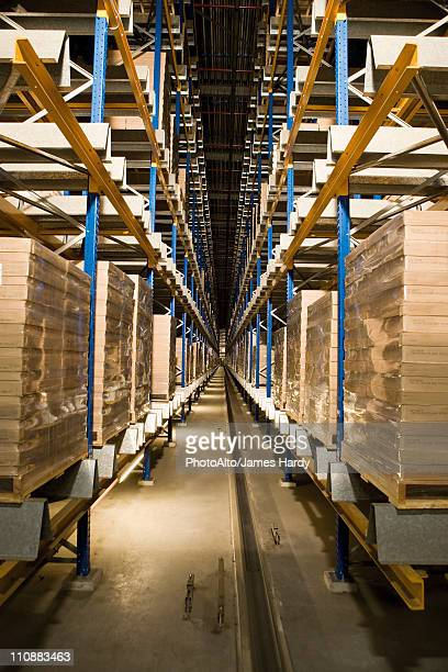 Automated Storage and Retrieval System, AS/RS, operating in the dark to conserve energy in warehouse