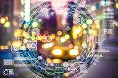 close up Artificial Intelligence technology city for backgroundsFuturistic eye, Artificial Intelligence, Globe - Navigational Equipment, DataBrain Wave, Artificial Intelligence, city.Data,Face recogni
