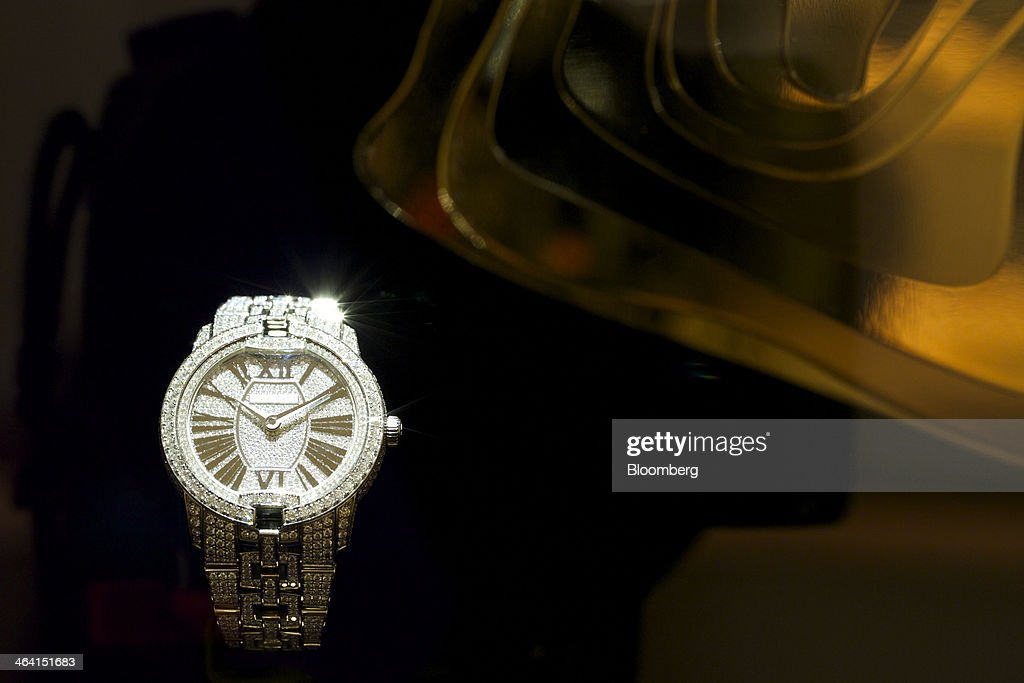 Automatic Manufacture Movement wristwatch, manufactured by Roger Dubuis, a part-owned unit of Cie. Financiere Richemont SA, sits on display at the Salon International de la Haute Horlogerie (SIHH) watch fair in Geneva, Switzerland, on Monday, Jan. 20, 2014. Enthusiasts coveting $50,000 Cartier watches at the Swiss industry's annual fair bumped opening meetings to resolve the three-year-old Syrian civil war out of the lakeside town. Photographer: Gianluca Colla/Bloomberg via Getty Images