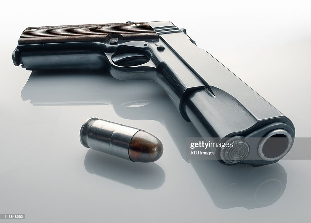 45 automatic pistol and bullet