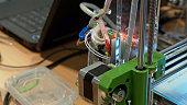 Automatic robotics mechanical equipment in scientific laboratory. Modern 3D printing technology. Close-up shot.