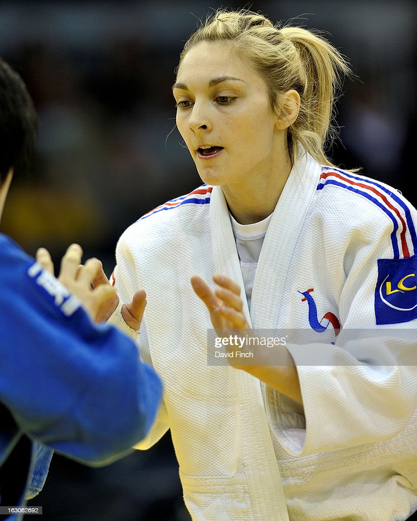Automne Pavia of France (white) defeated Nozome Hirai of Japan to win the u57kgs gold medal at the Dusseldorf Grand Prix on day 1, Saturday, February 23, 2013 at the Mitsubishi Electric Halle, Dusseldorf, Germany.