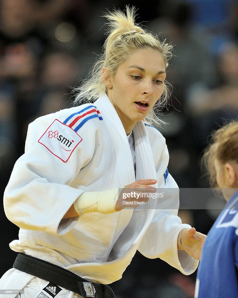 Automne Pavia of France in action with Corina Caprioriu of Romania to reach the u57kg final during the Montpellier European Judo Championships on April 24 2014 at the Park&Suites Arena, Perols, Montpellier, France.