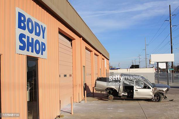 Automobile Body Shop with Wrecked Vehicle