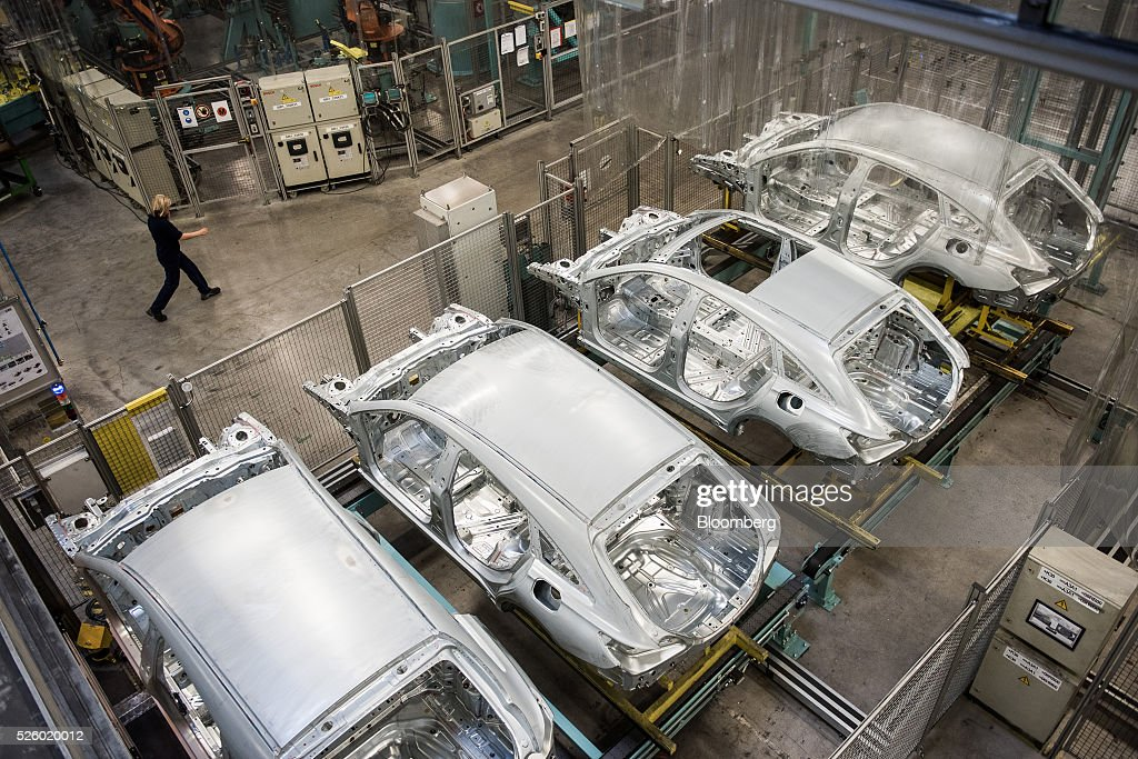 Automobile chassis sit awaiting further assembly inside the Mercedes-Benz AG automobile plant, operated by Daimler AG, in Kecskemet, Hungary, on Friday, April 29, 2016. Daimler's Mercedes factory will produce a new generation of compact vehicles, totalling Daimlers investment in Hungary to more than $1.8 billion. Photographer: Akos Stiller/Bloomberg via Getty Images