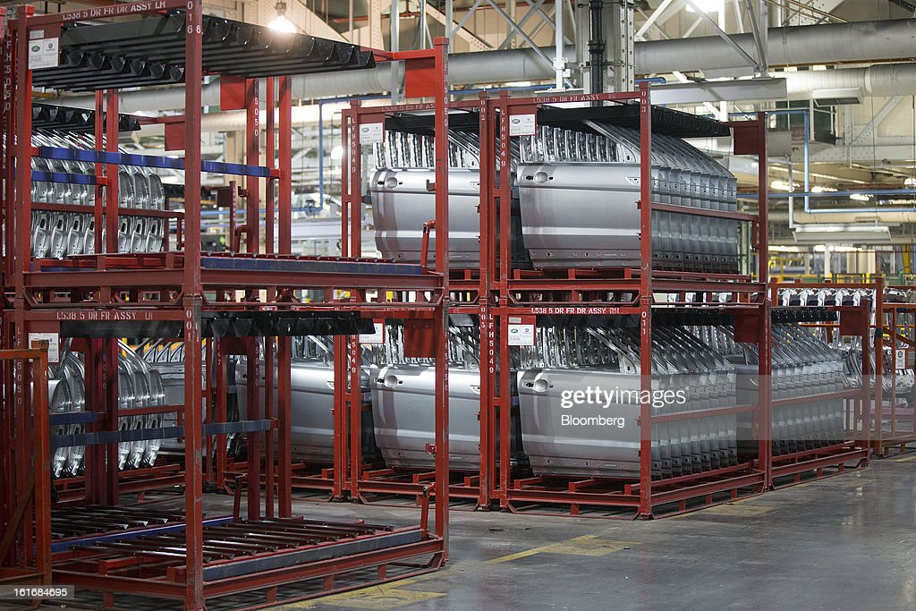 Automobile doors sit stored ahead of use at Jaguar Land Rover Plc's assembly plant, a unit of Tata Motors Ltd., in Halewood, U.K., on Wednesday, Feb. 13, 2013. Carmakers from Ford Motor Co. to Audi AG and Jaguar Land Rover Plc are using record amounts of aluminium to replace heavier steel, providing relief to producers of the metal confronting excess supplies and depressed prices. Photographer: Simon Dawson/Bloomberg via Getty Images