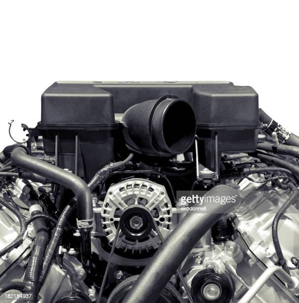 Automobile Engine on White