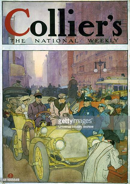 Automobile in crowded street Watercolour by Edward Penfield 18661925 artist 1907