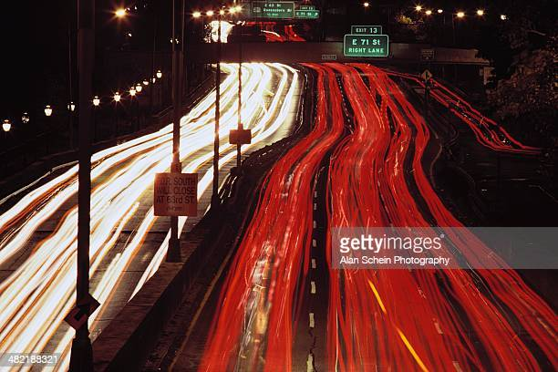 Automobile Light Trails on FDR Drive
