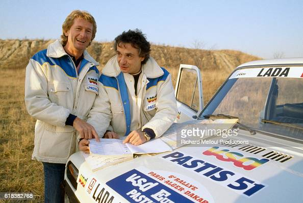 jean pierre jabouille and michel sardou in paris dakar desert race pictures getty images. Black Bedroom Furniture Sets. Home Design Ideas