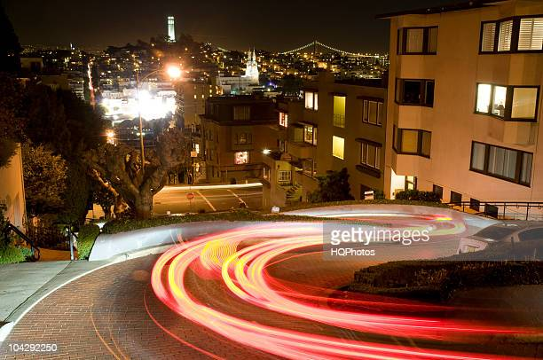 Automobile Trails on Lombard Street, San Francisco