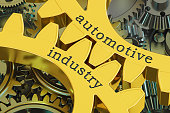 Automotive Industry concept on the gears, 3D rendering