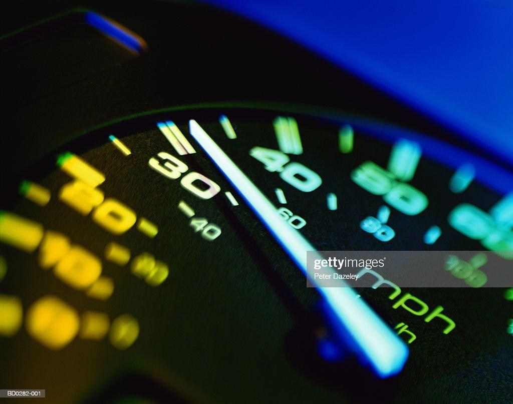 Automotive speedometer, close up (brightly lit)