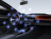 Autonomous car interior concept. Flat design multimedia icons on the center touch screen. 3D rendering image.