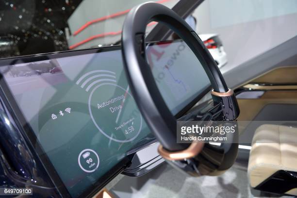 A autonomous drive detail of the Honda NEU V concept is seen during the 87th Geneva International Motor Show on March 8 2017 in Geneva Switzerland...