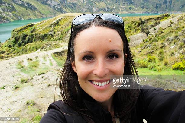 Autoportrait -smiling girl in Quilotoa lake