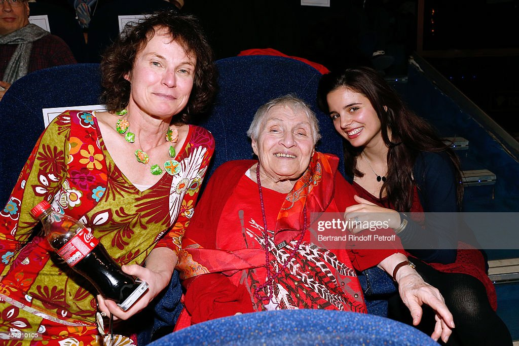 Autor of the Book 'Angelique, marquise des anges' Anne Golon, her daughter Nadia (L) and her granddaughter Eden (R) attend the 'Angelique' Paris movie premiere at Cinema Gaumont Capucine on December 16, 2013 in Paris, France.