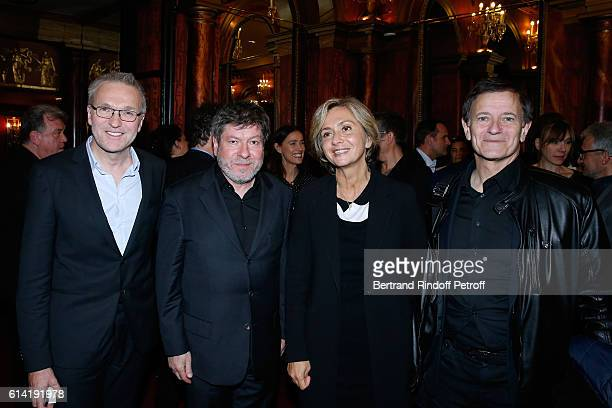 Autor of the piece Laurent Ruquier actor of the piece Regis Laspales politician Valerie Pecresse and actor of the piece Francis Huster pose after the...