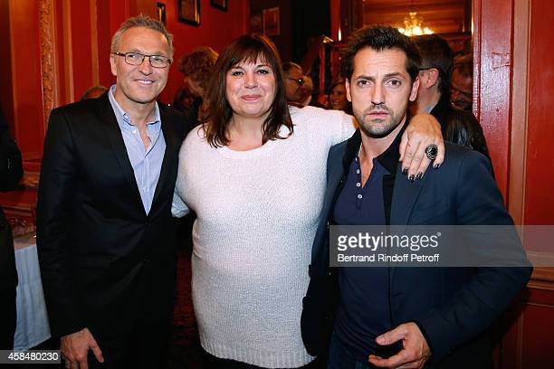 Autor of the piece Laurent Ruquier actors of the piece Michele Bernier and Frederic Diefenthal pose after attend the 150th Representation of the 'Je...