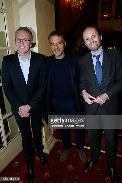 Autor of the piece Laurent Ruquier Stage director of the Piece Steve Suissa and coowner of the Theater JeanMarc Dumontet attend the 'A Droite A...