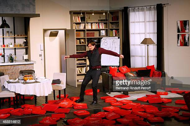 Autor of the play and actor Pierre Palmade during the traditional throw of cushions at the final of 'Le fils du comique' play at the 30th Ramatuelle...