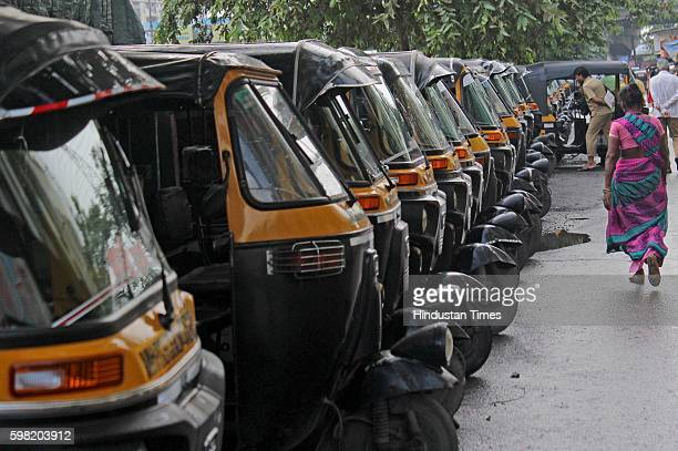 Autorickshaws stayed off the roads to protest against cab aggregators such as Uber and Ola at Lokmanya Tilak Terminus railway station on August 31...