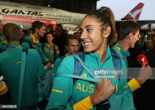 Autralian athletes arrive home during the Welcome Home for Australian Olympic Games athletes at Sydney International Airport on August 24 2016 in...