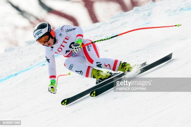 Autrias' Nicole Schmidhofer competes during the first women's downhill practice during a FIS Alpine Ski World Cup in Jeongseon some 150km east of...