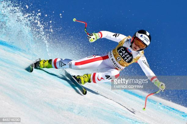 Autria's Nicole Schmidhofer competes in the Alpine Skiing FIS World Cup Ladies Super G race on February 25 2017 in CransMontana / AFP / Fabrice...
