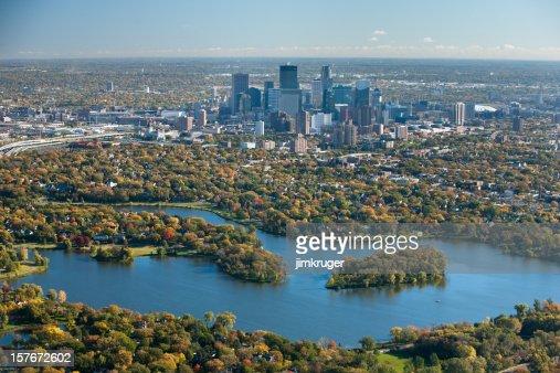 Autumn aerial view of Minneapolis, Minnesota.