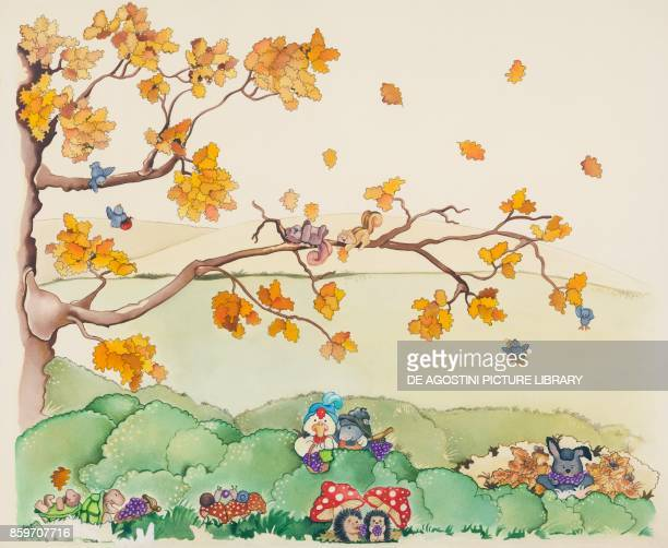 Autumn animals in the countryside children's illustration drawing