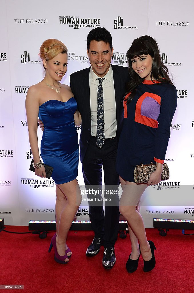 Autumn Belanger, Frankie Moreno and <a gi-track='captionPersonalityLinkClicked' href=/galleries/search?phrase=Claire+Sinclair&family=editorial&specificpeople=6960124 ng-click='$event.stopPropagation()'>Claire Sinclair</a> arrive at 'Smokey Robinson Presents Human Nature: The Motown Show' opening at The Venetian Resort Hotel Casino on February 22, 2013 in Las Vegas, Nevada.