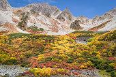 Autumn color of Kamokochi Karasawa at Nagano , Japan