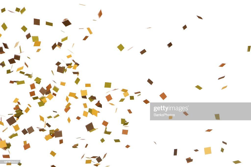 'Autumn Colored Confetti Falling, Isolated on White'