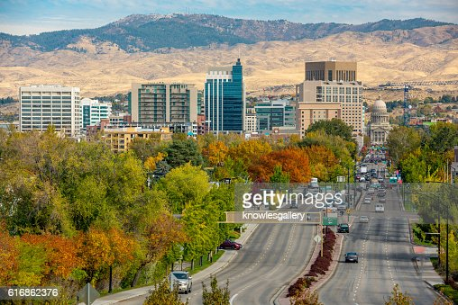 Autumn colored trees on a main street Boise Idaho : Stock Photo