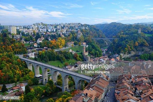 Autumn colors in Fribourg, Switzerland : Foto de stock