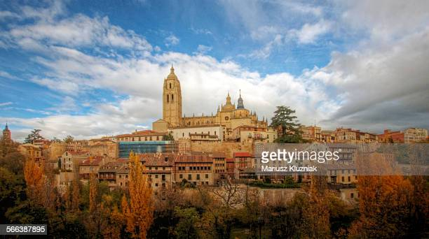 Autumn colours of Segovia old town and cathedral