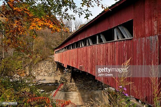 Autumn covered bridge detail