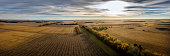 Aeria panoramic view of South Dakota farm land painted with the sunrise and autumn colors.